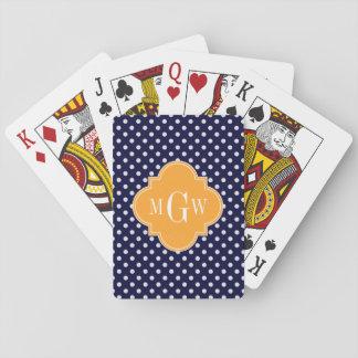 Cartes À Jouer Monogramme de Quatrefoil 3 de cantaloup de point