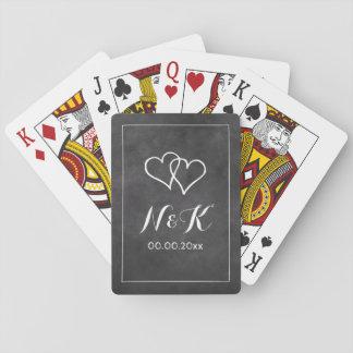 Cartes À Jouer Monogramme fait sur commande de tableau noir de
