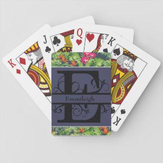 Cartes À Jouer Monogramme floral tropical E de bleu marine