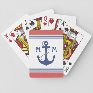 Cartes À Jouer Monogramme nautique rouge d'ancre