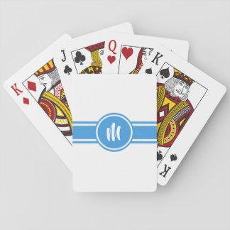 Cartes À Jouer Monogramme personnalisé personnalisable rayé bleu