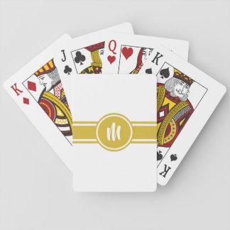Cartes À Jouer Monogramme personnalisé personnalisable rayé jaune
