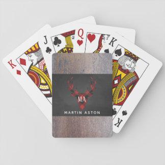 Cartes À Jouer Monogramme rouge de tête de cerfs communs de plaid
