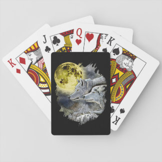 Cartes À Jouer Montagne de lune de loup d'imaginaire