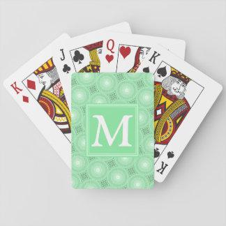 Cartes À Jouer Motif de cercles de vert de ressort de monogramme