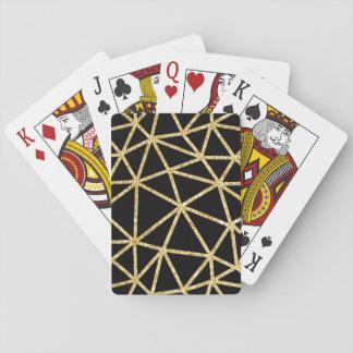 Cartes À Jouer Motif géométrique d'or de rayure noire chic de