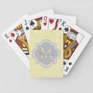 Cartes À Jouer Nom gris de monogramme de festons jaunes chics