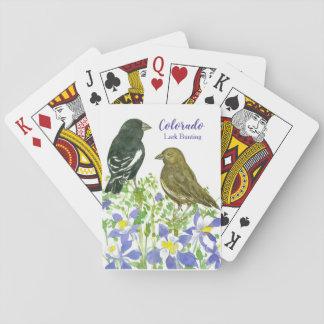 Cartes À Jouer Oiseau d'état d'aquarelle d'étamine d'alouette du
