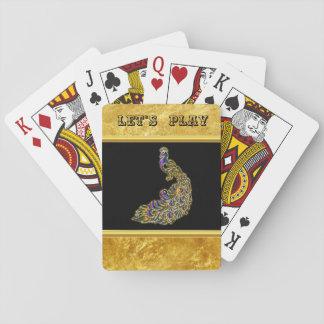Cartes À Jouer Or et feuille d'or pourpre de paon avec le noir