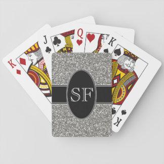 Cartes À Jouer Parties scintillantes de Faux et monogramme noir