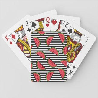 Cartes À Jouer Pastèque sur le motif noir et blanc de rayures