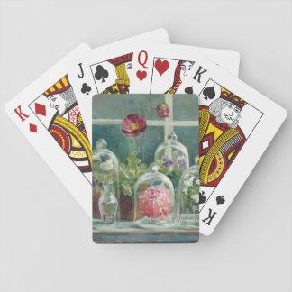 Cartes À Jouer Pavots pourpres sur un rebord de fenêtre
