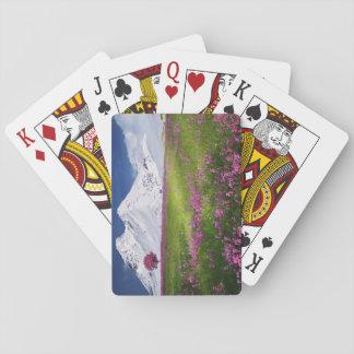 Cartes À Jouer Paysage pourpre de fleurs d'herbe de montagnes de