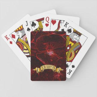 Cartes À Jouer Pensées au néon rouges avec le monogramme