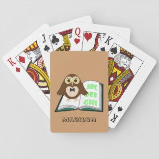 Cartes À Jouer Personnalisez le hibou mignon frais avec le livre