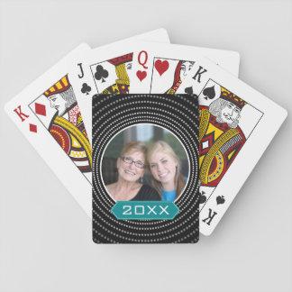 Cartes À Jouer Photo avec le cadre de point de polka et l'année