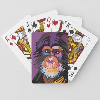 Cartes À Jouer Portrait coloré de singe d'art de bruit