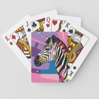 Cartes À Jouer Portrait coloré de zèbre d'art de bruit
