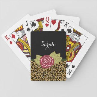 Cartes À Jouer Rose rouge de Brown d'empreinte de léopard chic