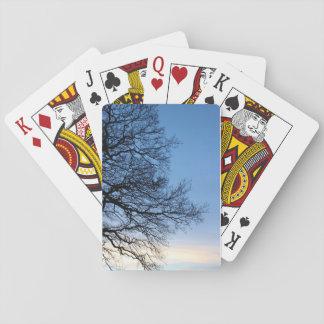 Cartes À Jouer Silhouette d'arbre dans un ciel bleu d'hivers