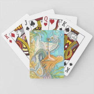 Cartes À Jouer Sirène montant la PLATE-FORME de licorne de