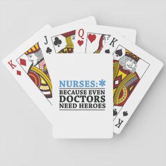 Cartes À Jouer Soins drôles d'infirmière de RN de héros