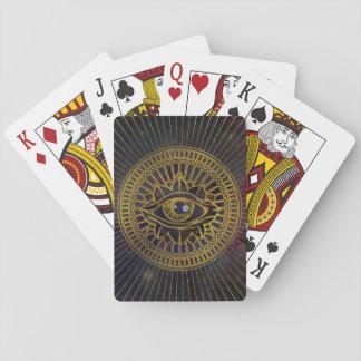 Cartes À Jouer Tout l'or mystique voyant d'oeil sur le ciel de