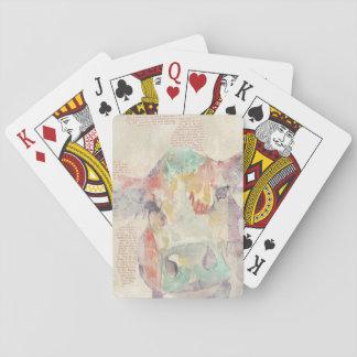 Cartes À Jouer Vache à collage de ferme d'aquarelle