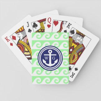 Cartes À Jouer Vagues grecques de clé d'ancre blanche verte en