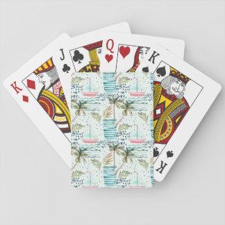 Cartes À Jouer Voilier d'aquarelle avec le motif de palmier