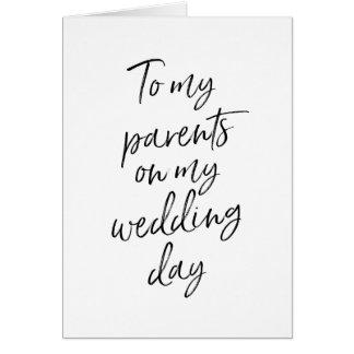 Cartes À mes parents sur mon en lettres élégant du