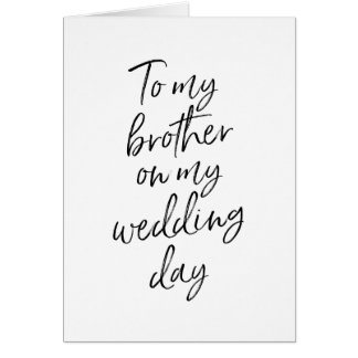 Cartes À mon frère sur ma main du mariage   marquée avec