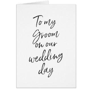 Cartes À mon marié sur notre main élégante du mariage |