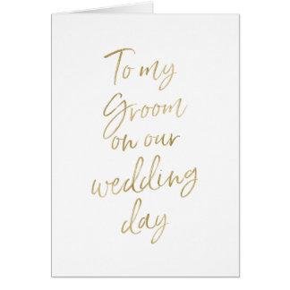 Cartes À mon marié sur notre or élégant du mariage |