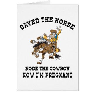 Cartes A sauvé le cheval est monté le cowboy enceinte