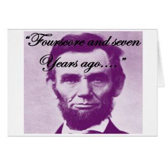 """Cartes Abe Lincoln """"quatre-vingt et il y a sept ans """""""