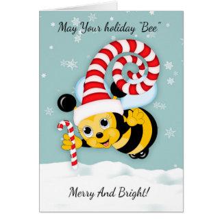 Cartes Abeille de miel avec le casquette et le sucre de