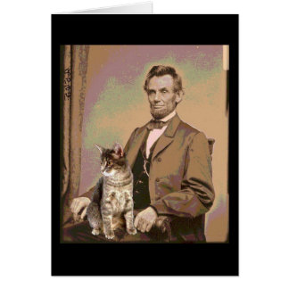 Cartes Abraham Lincoln et son chat Dixie