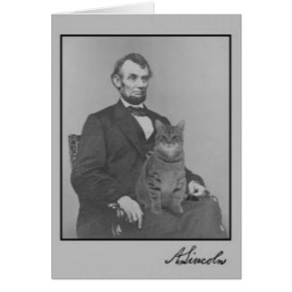 """Cartes Abraham Lincoln et son chat """"Gloria """""""