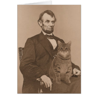 "Cartes Abraham Lincoln et son chat ""Gloria"" 2"