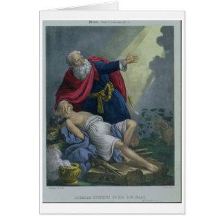 Cartes Abraham offrant vers le haut de son fils Isaac,