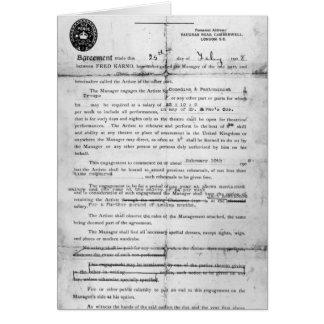 Cartes Accord conclu entre les compagnies de Fred Karno