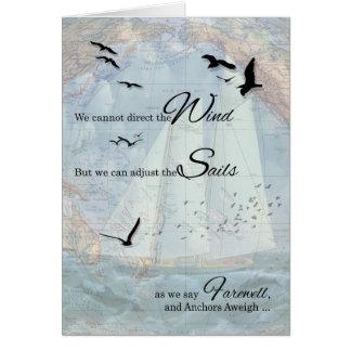Cartes Adieu - le thème nautique de navigation ancre