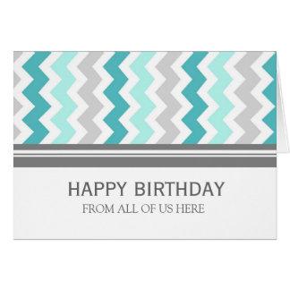 Cartes Affaires grises de Chevron d'Aqua d'anniversaire
