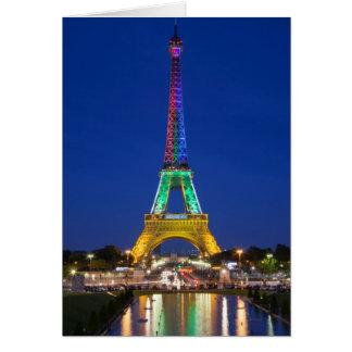 Cartes Affichage léger coloré sur Tour Eiffel