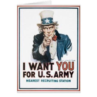 Cartes Affiche d'Oncle Sam, Amérique. Je vous veux pour…