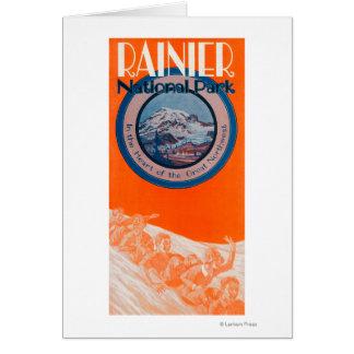 Cartes Affiche du mont Rainier - Sledding