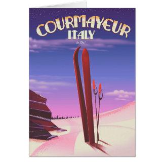 Cartes Affiche italienne de ski de Courmayeur