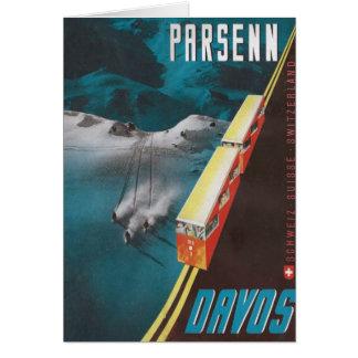 Cartes Affiche vintage de ski, Parsenn, Davos