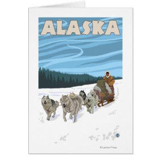Cartes Affiche vintage de voyage d'AlaskaDogsledding